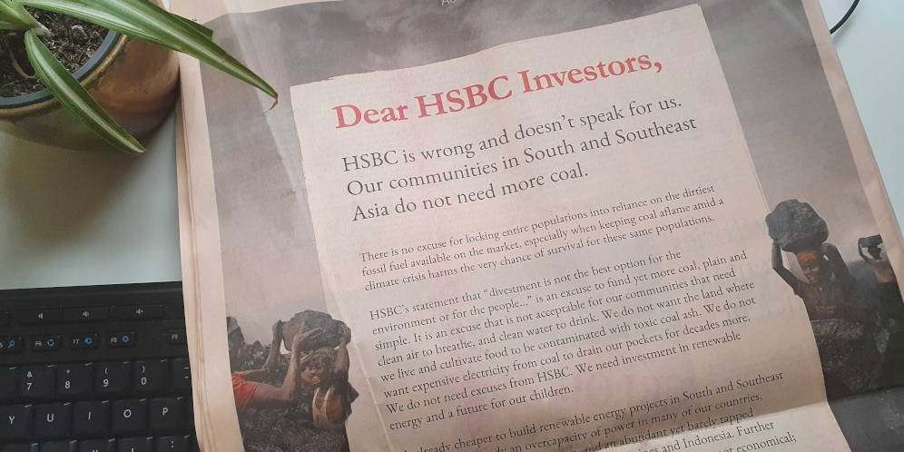 Advert placed in the Financial Times by 21 Asian organisations